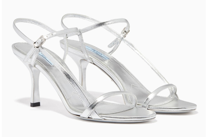 Prada - Metallic Asymmetric Strappy Sandals